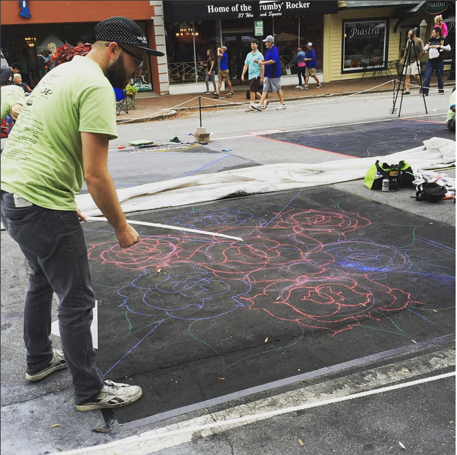Image perceived to contain People Person Human Pavement Flagstone  on the & Raising Help Artist Chalks Up Success to the Great Community - Marietta & Kennesaw GA page