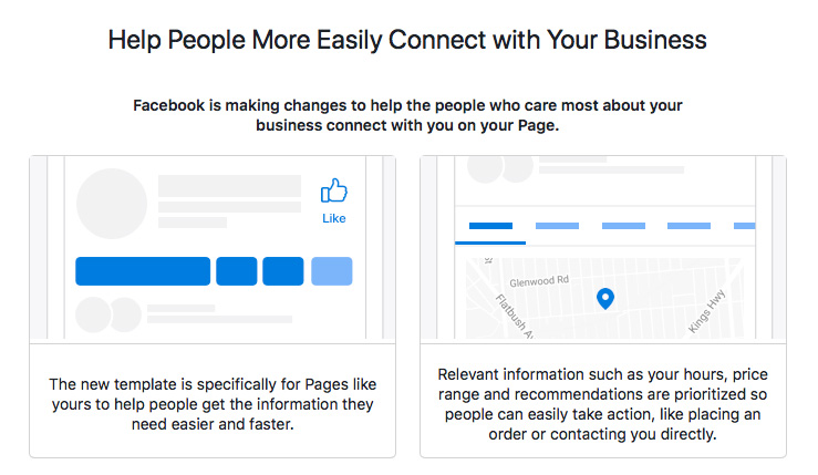 Facebook updates business page templates marietta kennesaw ga image perceived to contain help people more easily connect with your business facebook is making changes wajeb Choice Image